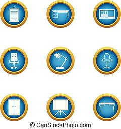 Office seat icons set, flat style - Office seat icons set. ...