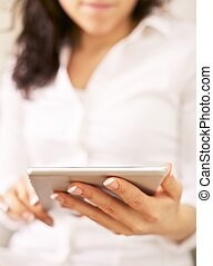 Office Secretary with a Handheld Device - Office secretary...