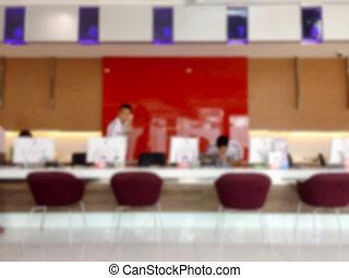 Office service blurry reception area.