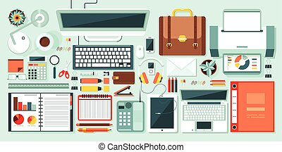 office set - office supplies, gadgets, stationery on desktop...