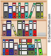 office shelf - vector ring binders in office shelf,eps10...
