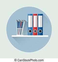 Office Shelf With Document Folder Icon