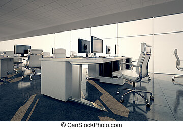 Office. - Side view of an office space. White desks...