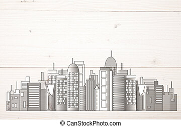 Office skyline on light wooden background