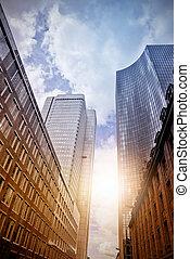 office skyscrapers in the sun