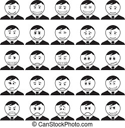 Set of smileys symbolizing various human emotions: men of business change in suits and ties, black contour on white background. Vector