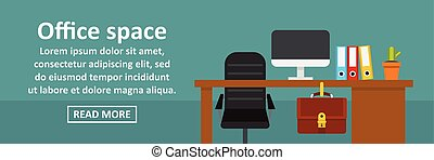 Office space banner horizontal concept. Flat illustration of...