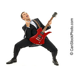 office space - crazy businessman with red guitar over white