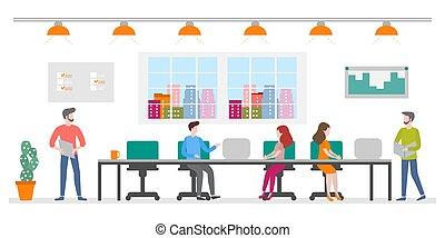 Office space. Creative people teamwork. Employees - Vector...