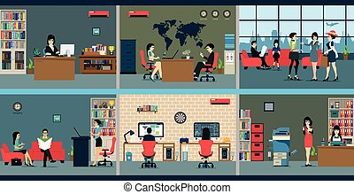 Office space - Employees who work in various departments in...