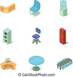 Office space icons set, isometric style - Office space icons...