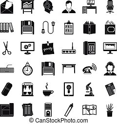 Office space icons set, simple style - Office space icons...
