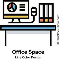 Office Space Line Color Icon illustration Design