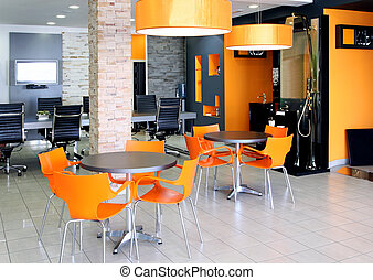 Office space - Modern office space with bright orange...