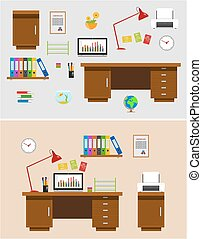 Office Space - Set of office space items and accessories,...
