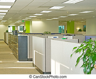 Office Spaces - Corporate office settings showing desks, ...