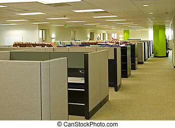 Interior office space with cubicles