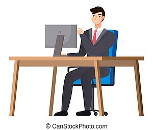 Office staff, manager work and communication. Office worker at the table. Business employees on their workspace. Co-worker. Businessman or a clerk working at his office workplace flat style