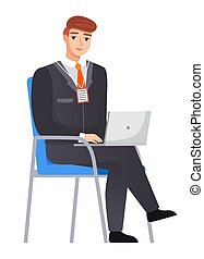 Office staff, manager work and communication. Office worker on chair. Business employees on their workspace. Co-worker. Businessman or a clerk working at his office workplace flat style