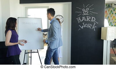 Office staff of two women and a man in a suit writes on board using markers, work before deadline.