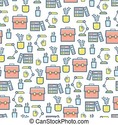 Office stationery and equipment seamless pattern