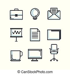 office stationery equipment supplies icon set