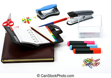 Office stationery over white background