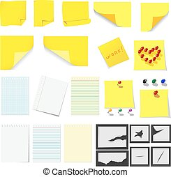 Office, sticky notes and turned paper