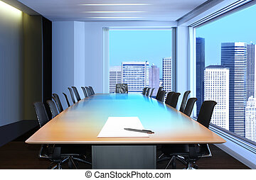 office - meeting room, in front focus placed sheet of paper...