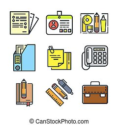 office stuff icon set color