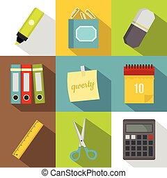 Office stuff icon set, flat style