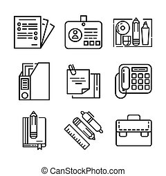 office stuff icon set