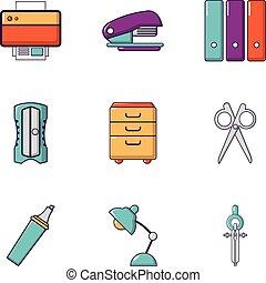 Office stuff icons set, flat style