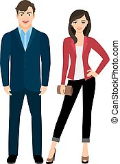 Office style clothed fashion beautiful couple on white background. Vector illustration
