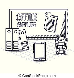 Office supplies design - board and office supplies related...