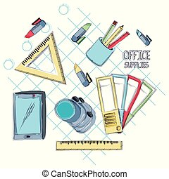 Office supplies design - Office supplies around over gray...