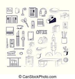 Office supplies design - Office supplies around over white...