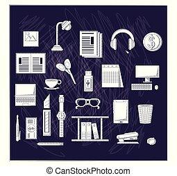 Office supplies design - Office supplies over black...