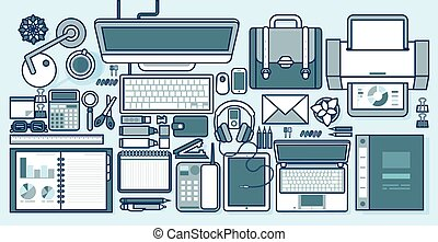 office supplies, gadgets, stationery on desktop in line style