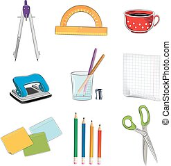 Office supplies icons - Office supplies on a white...