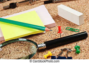 office supplies in a mess on the table