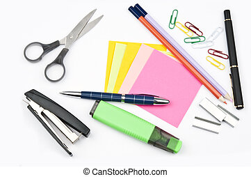 Isolated office supplies on white