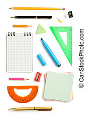 office  supplies isolated on white