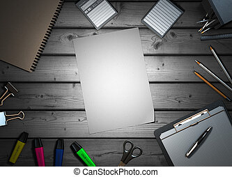 office supplies on colorless wooden background 3d render