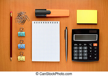 Office supplies on desk