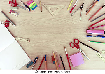 office supplies on the table