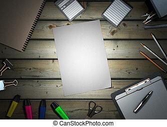 office supplies on wooden background 3d render