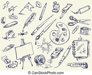 Office supplies. Products for Artists. Art supplies. Hand-...