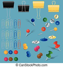 office supplies set - A set of office supplies, paper clips,...