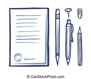 Office Supplies Stationery Monochrome Icon Vector